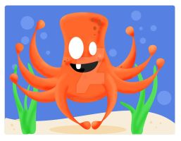 Vector Buddy- Orange Octopus by DemonShadows