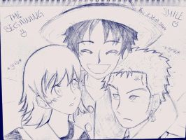 The Beginning//Luffy, Zoro, Nami (sketch) by EvilAngelofKC17