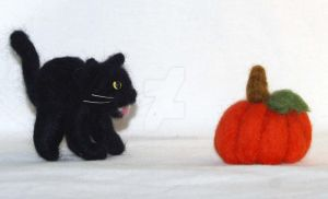 Needle Felted Black Cat by The-GoblinQueen