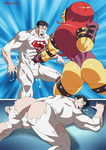 Superboy Belly Punched by Mongal by sats-VanBrand