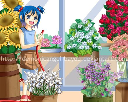 In the flower shop by Bayou-Kun