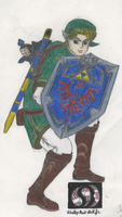 Hylian Knight Battle Stance: Traditional Coloring by Ph03n1x-Warr1or-Z