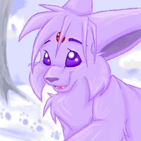 Espeon in winter by shark-in-my-pants