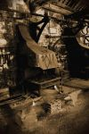 old blacksmiths workshop in sepia 2 by Sad-Fantasy