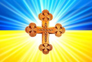 Flag of Ukraine with a cross by Zakharii