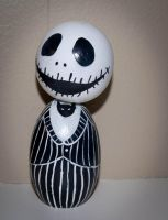 Jack Skellington Kokeshi Doll by maskedrabbitcrafts