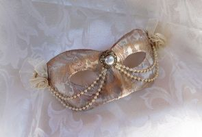Pale Gold Champagne Masquerade Mask by DaraGallery