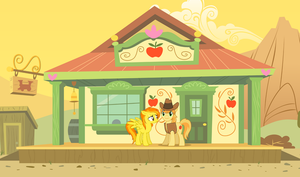 Spitfire and Braeburn in the Appleloosa Station by 3D4D