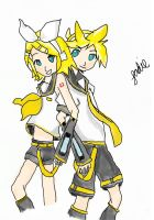 Rin and Len by dawnleapord