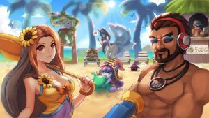 league of legends pool party skin fanart by MissF0rtune