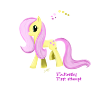 Fluttershy  first attempt  by prettiest-potato