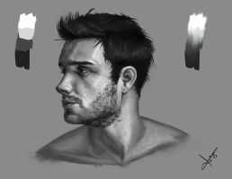 Male Face Study by victter-le-fou