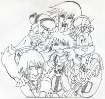 Kingdom Hearts Group lineart by Andrex91