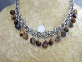 Helm Necklace With Tigerseye Drops by Pharewings