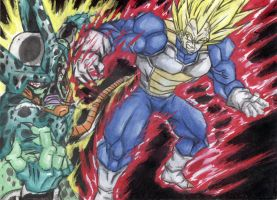 Super Vegeta VS Imperfect Cell by MiCOOLGoinx