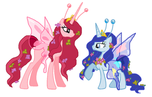 Mlp Butterfly queen and princess ponies by SugarMoonPonyArtist