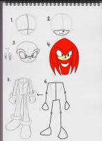 How to draw Knuckles by Sotamies007