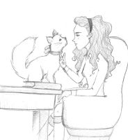 A Girl and her Cat by AdeL7e
