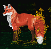 Flaming Fox in ms paint by Archerionwolf