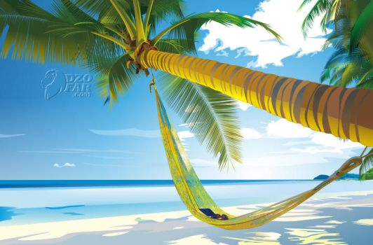 VECTOR REAL: BEACH and COCONUT TREES by ndop
