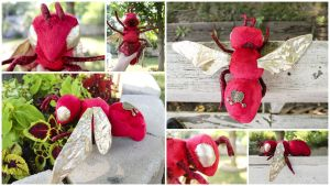 Red and Gold Bee Stuffed Animal by BeeZee-Art
