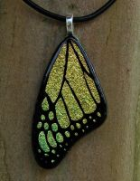 Yellow Butterfly Wing Glass by FusedElegance