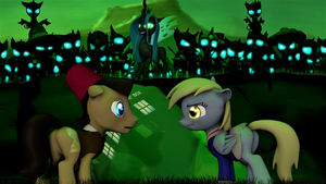 Doctor and Derpy facing Chrysalis by DJ-Chopin