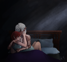 Commission: Viveca Hawke and Fenris by FlockofFlamingos