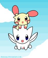 Plusle and Togetic by Buneary