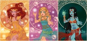 Loki's wives - Glut , Sigyn and Angrboda by LadyRaw90