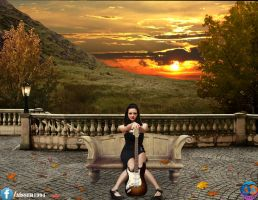 lady with guitar in sunset by aisseraltaay