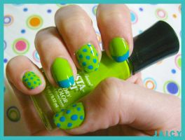 Nail Art- Blue Green by suicidevegie