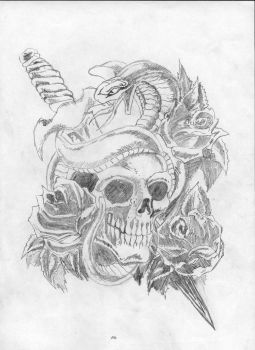 skull tattoo by stoned-hippie