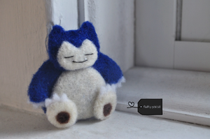 Needle felted snorlax by FluffyParcel