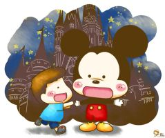Wewe and Mickey Mouse by isanctz