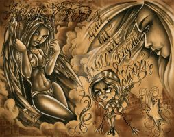 angel tattoo flash art3 by AllanTorres