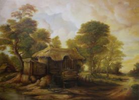 Dan Scurtu - Landscape with Old Hut by DanScurtu