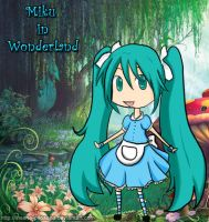 Chibi Miku in Wonderland by alybel