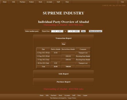 Supreme Industry Database Interface by qazinahin