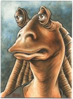 JarJar Binks Commissioned Sketch Card by Erik-Maell
