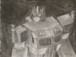 Optimus Prime Charcoal Drawing by King-Hauken