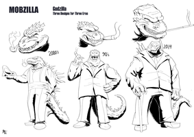 Mobzilla: Three Eras of Gojira by a3dkid