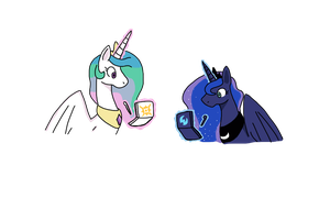 Celestia and Luna playing Pokemon Sun and Moon by mewtwo365