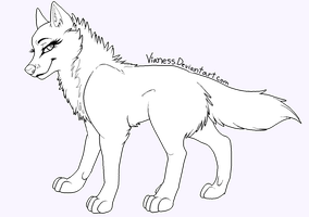 :||: FREE Female Wolf Line art :||: by Vianess