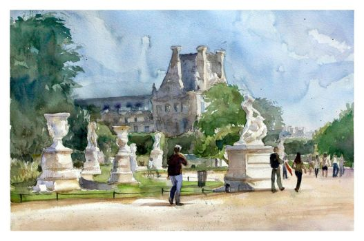 The Garden in front of Louvre by juepaap