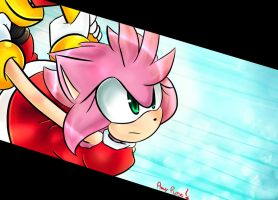 Amy Rose - Attack (colored version) owo by GiulytheWolf