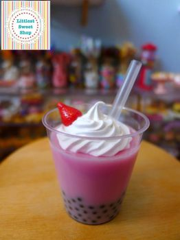 Littlest Sweet Shop strawberry bubble tea BJD size by LittlestSweetShop