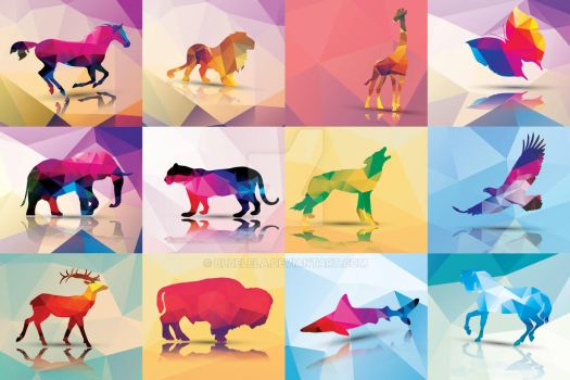 Collection of 12 geometric polygon animals by BlueLela
