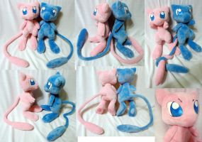 Regular and Shiny Mew plushies by Rens-twin