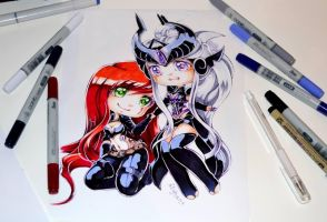 Syndra and Katarina by Lighane
